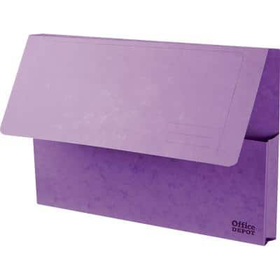 Office Depot Document Wallets Foolscap Purple Pressboard 35.6 x 3.2 x 24 cm 10 Pieces