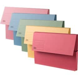 Office Depot Manilla Document Wallets Medium Weight Manilla 250gsm, Foolscap, Assorted - Pack of 50