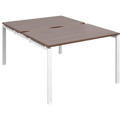 Dams International Rectangular Back to Back Desk with Walnut Melamine Top and White Frame 4 Legs Adapt II 1200 x 1600 x 725mm