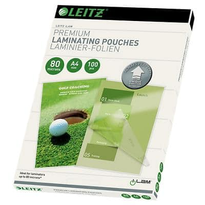Leitz Laminating Pouches Glossy 2 x 80 (160 Micron) A4 100 Pieces