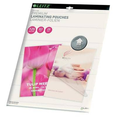 Leitz Laminating Pouches Glossy 2 x 125 (250 Micron) A3 25 Pieces