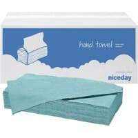 Niceday Hand Towels Blue C-fold 1 Ply Paper 20 Sleeves of 182 Sheets