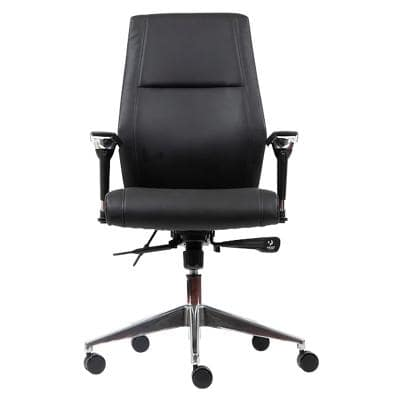 Realspace Synchro Tilt Ergonomic Executive Office Chair with 2D Armrest and Adjustable Seat London Leather Black