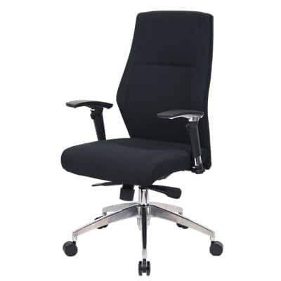 Realspace Synchro Tilt Ergonomic Executive Office Chair with 2D Armrest and Adjustable Seat London Fabric Black