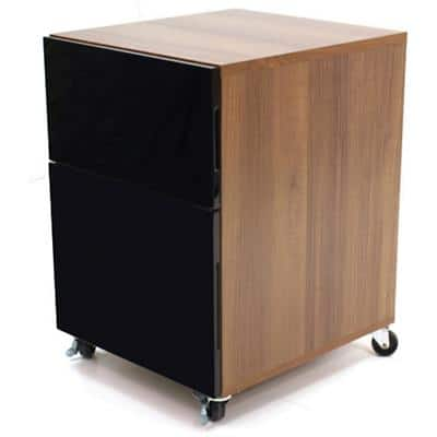 Alphason Designer Desk Pedestal with 1 Storage Drawer and 1 Filing Drawer MFC Juo Pedestal 420 x 465 x 605  mm Black & Walnut