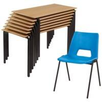 Advanced Poly Chair and Crushbend Table Class Pack Beech Top Black Frame 1200 x 600 x 760 mm Blue Shell Black Frame 460 mm Height