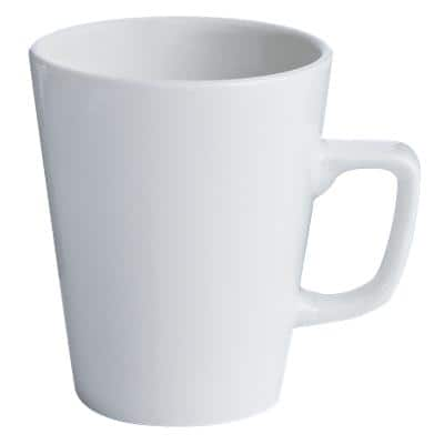 GENWARE Latte Mugs Porcelain 340ml 10.5 x 9.5cm White Pack of 6