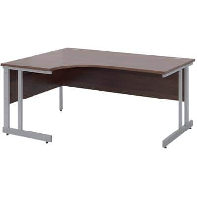 Corner Left Hand Design Ergonomic Desk with Walnut MFC Top and Silver Frame Adjustable Legs Momento 1600 x 1200 x 725 mm
