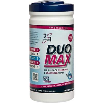 Duo Max Surface Cleaning & Sanitising Wipes Pack of 200