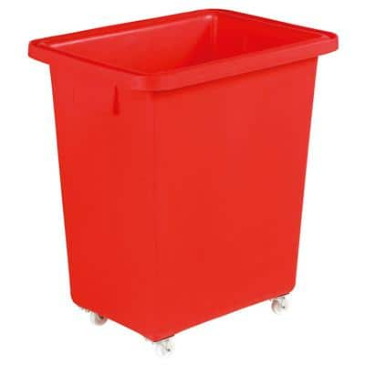 Slingsby 130 litre mobile plastic container with smooth interior – red