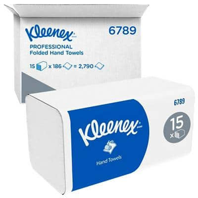 Kleenex Hand Towels Ultra 2 Ply M-fold White 186 Sheets Pack of 15