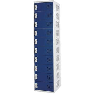 LINK51 Standard Mild Steel Locker with 10 Doors and Socket Charger Standard Deadlock Lockable with Key 450 x 450 x 1800 mm Grey, Blue