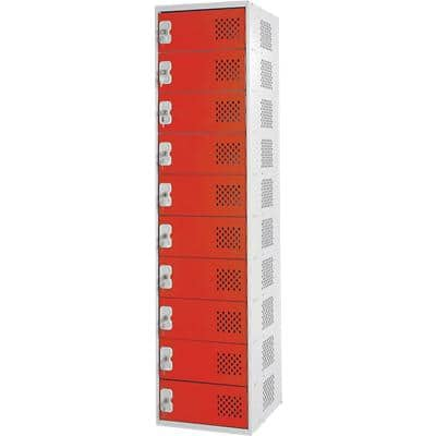 LINK51 Standard Mild Steel Locker with 10 Doors and Socket Charger Standard Deadlock Lockable with Key 450 x 450 x 1800 mm Grey, Red