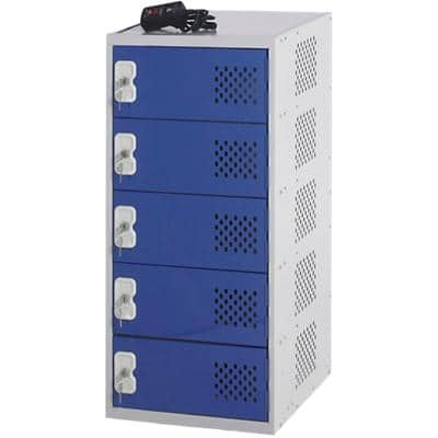 LINK51 Mild Steel Locker with 1 Door and Socket Charger Standard Deadlock Lockable with Key 450 x 450 x 896 mm Grey, Blue