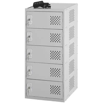 LINK51 Mild Steel Locker with 1 Door and Socket Charger Standard Deadlock Lockable with Key 450 x 450 x 896 mm Grey