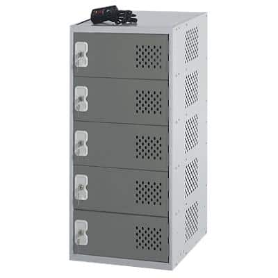 LINK51 Steel Locker with 5 Doors and Socket Charger Standard Deadlock Lockable with Key 450 x 450 x 930 mm Grey, Dark Grey