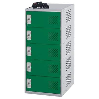 LINK51 Steel Locker with 5 Doors and Socket Charger Standard Deadlock Lockable with Key 450 x 450 x 930 mm Grey, Green