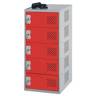 LINK51 Steel Locker with 5 Doors Standard Deadlock Nest 1 450 x 450 x 930 mm Grey & Red