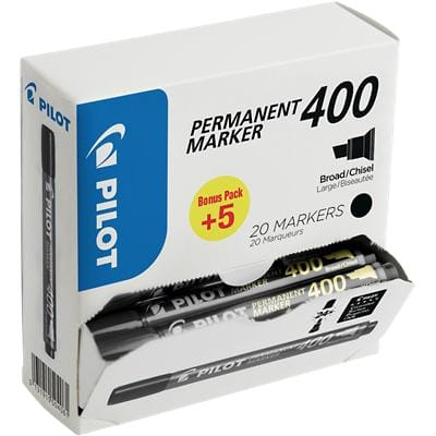 Pilot 400 Permanent Marker Fine Chisel Black Pack of 20