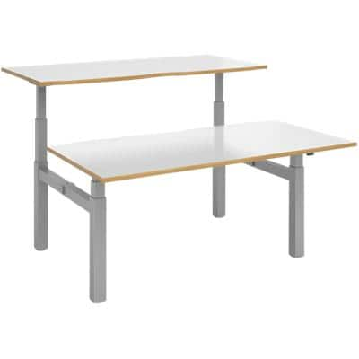 Elev8² Rectangular Sit Stand Back to Back Desk with White & Oak Coloured Melamine Top and Silver Frame 4 Legs Touch 1600 x 1650 x 675 - 1300 mm