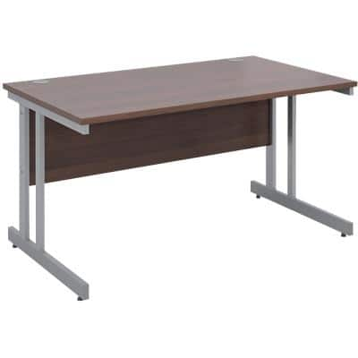 Rectangular Straight Desk with Walnut MFC Top and Silver Frame Cantilever Legs Momento 1400 x 800 x 725 mm
