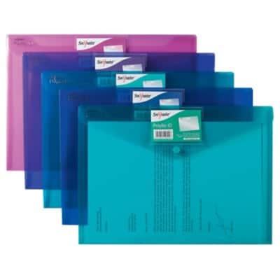 Snopake Document Wallets 14734 A4 Assorted Polypropylene 33 x 24 cm 5 Pieces