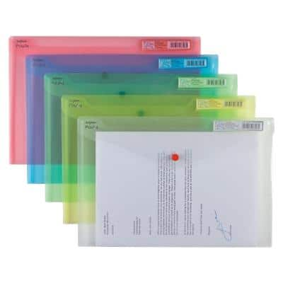 Snopake Document Wallets 10087X Foolscap Assorted Polypropylene 35.5 x 24 x 24 cm 5 Pieces