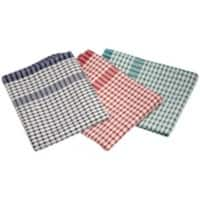 Genware Standard Check Tea Towel Cotton, Polyester Assorted 10 Pieces