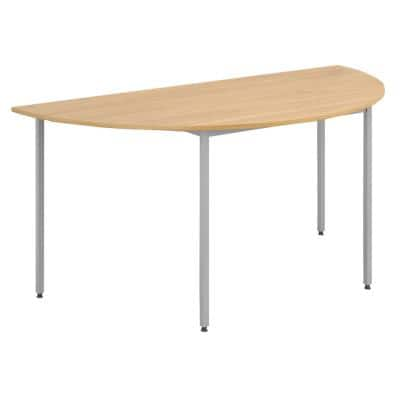Dams International Semi Circular Meeting Room Table with Oak Coloured MFC Top and Silver Frame Flexi 1600 x 800 x 725mm