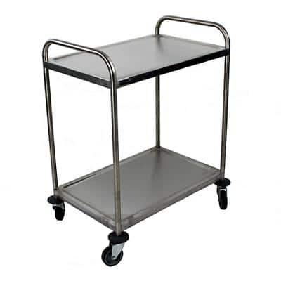 Craven Trolley 2 Tier General Purpose 77.6 x 52.1 x 92.4cm Stainless Steel + 2 Braked Castors and 2 Swivel Castors