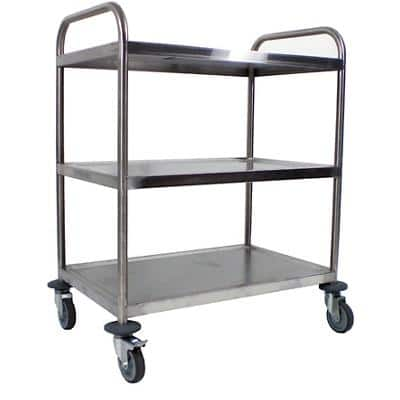 Craven Large Trolley 3 Tier General Purpose 82.1 x 57.1 x 97cm Stainless Steel + 2 Braked Castors and 2 Swivel Castors