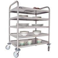 Craven Trolley 5 Tier General Purpose 97 x 67 x 100cm Stainless Steel + 2 Braked Castors and 2 Swivel Castors