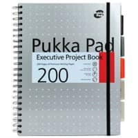 Pukka Pad Metallic Executive Project Book A4+ Wirebound Grey Cardboard Cover Ruled 200 Pages Pack of 3