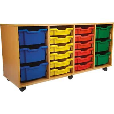 Storage Unit with 24 Trays 1800 x 495 x 789mm Beech & Red