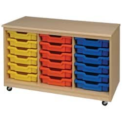 Storage Unit 18 Trays Beech, Red 810 x 1,350 x 495 mm included trays