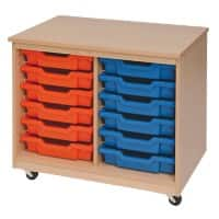Storage Unit with 12 Trays 900 x 495 x 650mm Beech & Red