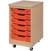 Storage Unit with 6 Trays 450 x 495 x 650mm Beech & Red