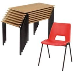 Advanced Poly Chair and Crushbend Table Class Pack Beech Top Black Frame 1100 x 550 x 590 mm Red Shell Black Frame 350 mm Height