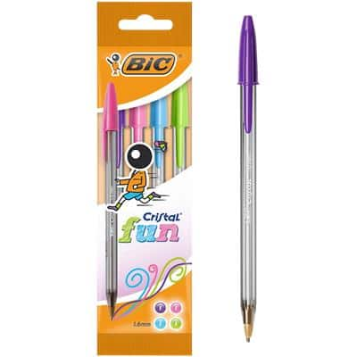 BIC Cristal Fun Ballpoint Pen Broad 0.6 mm Assorted Pack of 4