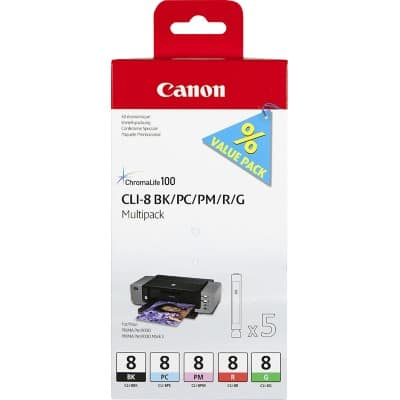 Canon CLI-8BK/PC/PM/R/G Original Ink Cartridge Black & 4 Colours 4 Pieces