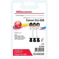 Office Depot Compatible Canon CLI-526 Ink Cartridge 3 Colours 3 Pieces