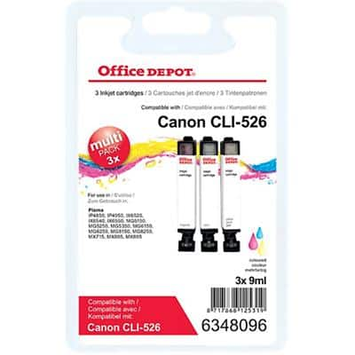 Office Depot Compatible Canon CLI-526 Ink Cartridge 3 Colours Pack of 3