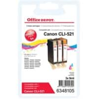 Office Depot Compatible Canon CLI-521C/M/Y Ink Cartridge Cyan, Magenta, Yellow Pack of 3