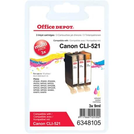 Office Depot Compatible Canon CLI-521C/M/Y Ink Cartridge 3 Colours 3 pieces