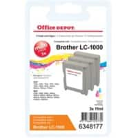 Office Depot Compatible Brother LC1000 Ink Cartridge 3 Colours Pack of 3