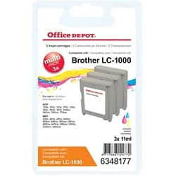 Office Depot Compatible Brother LC1000 Ink Cartridge 3 Colours 3 pieces