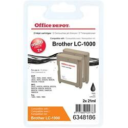Office Depot Compatible Brother LC1000BK Ink Cartridge Black 2 pieces