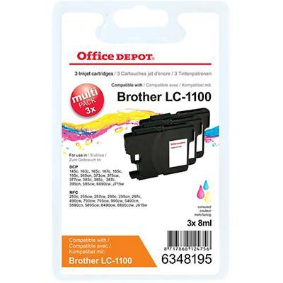 Office Depot Compatible Brother LC1100 Ink Cartridge 3 Colours Pack of 3