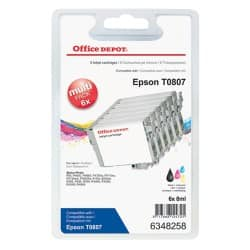 Office Depot Compatible Epson T0807 Ink Cartridge C13T08074510 Black & 5 Colours 6 Pieces