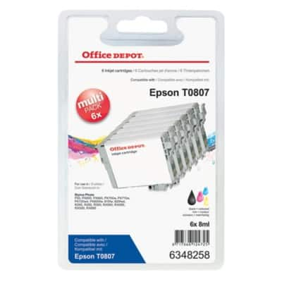 Office Depot Compatible Epson T0807 Ink Cartridge C13T08074510 Black, Cyan, Light cyan, Light magenta, Magenta, Yellow 6 Pieces